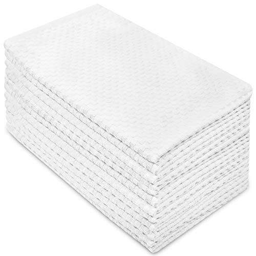 (Cotton Craft - 12 Pack - Euro Cafe Waffle Weave Terry Kitchen Towels - 16x28 Inches -White - 400 GSM quality - 100% Ringspun 2 Ply Cotton - Highly Absorbent Low Lint - Multi Purpose)
