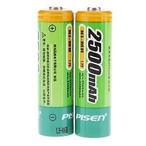 Pisen 2500mAh Ni-MH Rechargeable AA Batteries (2-Battery Pack)