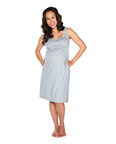 Baby Be Mine Maternity Nursing Nightgown - Sleeveless, Lisa (Gray/White), Small