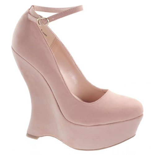 Whistle01 Nude Gaga Platform Wedge Dress Pump Curved Heel Women Shoes-8.5 (Curved Heel)