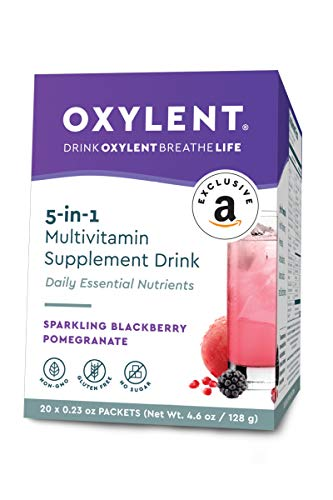 Oxylent 5-in-1 Multivitamin Supplement Drink - Sugar-Free & Effervescent for Easy Absorption of Vitamins, Minerals, Electrolytes, Antioxidants, Sparkling BlackBerry Pomegrante Flavor, 20 Count