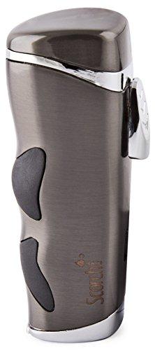 Scorch Torch Rushmore Triple Jet Flame Butane Cigarette Cigar Lighter with Cigar Punch (Gunmetal) -