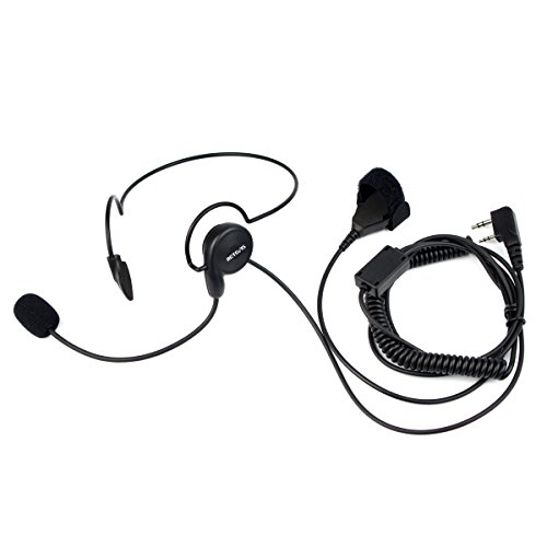 Retevis 2 Pin Overhead Headset with Mic Walkie Talkies Earpiece with Finger PTT for Baofeng BF-888S UV-5R Retevis H-777 RT21 RT22 2 Way Radios(1 Pack)
