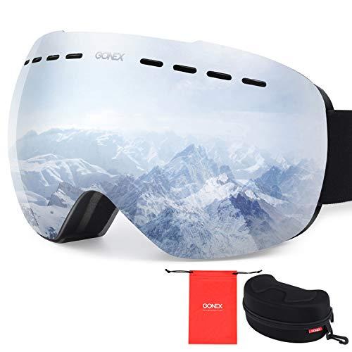 (Gonex Oversized Ski Snow Goggles Anti-Fog UV Protection with Frameless Double Spherical Lens for Skiing Snowboard Skate Winter Sports+ Goggle Case(Silver Lens))