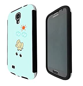 1132 - Cute Elephant Clouds Sun Design Samsung Galaxy S4 i9500 Full Body CASE With Build in Screen Protector Rubber Defender Shockproof Heavy Duty Builders Protective Cover