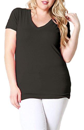 Belle Donne Women's Short Sleeve V-Neck T-Shirt Plus Size Various Solid Colors - - V-neck Donna