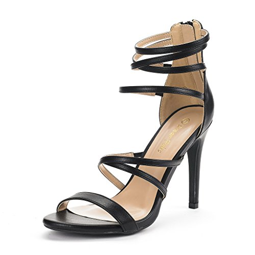 (DREAM PAIRS Women's Show Black Pu High Heel Dress Pump Sandals - 9 M US)