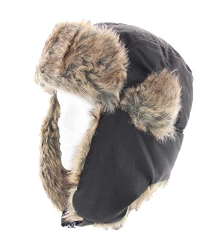 Milani Solid Color Trapper Style Hunting Aviator Winter Hat with Faux Fur and Chin Strap (OneSize, Brown)