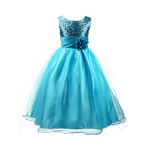 Acecharming Big Girls'Flower Party Wedding Gown Bridesmaid Tulle Ruffle Dress Size US 7/6-7years Blue