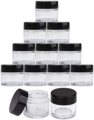 Beauticom High-Graded Quality 7 Grams/7 ML (Quantity: 24 Packs) Thick Wall Crystal Clear Plastic LEAK-PROOF Jars Container with Black Lids for Cosmetic, Lip Balm, Lip Gloss, Creams, Lotions, Liquids