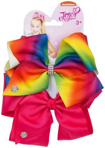 Official JoJo SiwaRainbow and Magenta 2 Pack Hair Clip Bow Set with Charms - worldofhoisery