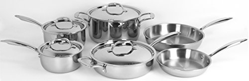 Oneida 10pc Stainless Steel Induction Ready Tri-ply Cookware Set. Dishwasher Safe