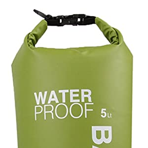LUCKSTONE 5L Ultralight Outdoor Waterproof Rafting Dry Bag Camping Travel Kit Equipment Canoe Kayak Swimming Bags Storage Green