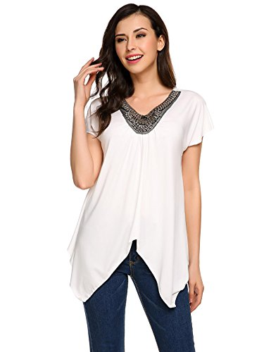 Bead Embellished Blouse (ThinIce Womens Embellished Neck Tunic Top Handkerchief Hem Loose Fit Comfy T Shirt White XL)