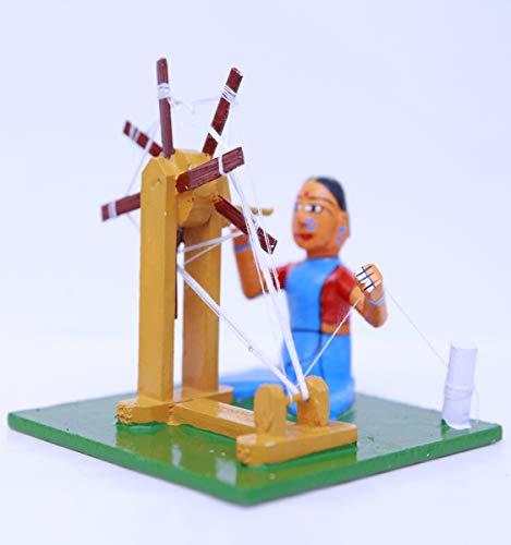 Andhra Hand Crafts Kondapalli Wooden Sitting Toy- Lady Thread Making|Size -(5X5X3.5)