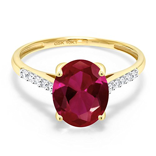 10k Yellow Gold Diamond Ruby - Gem Stone King 10K Yellow Gold Red Created Ruby and White Diamond Women's Engagement Ring (2.62 Ct Oval Available in size 5, 6, 7, 8, 9)