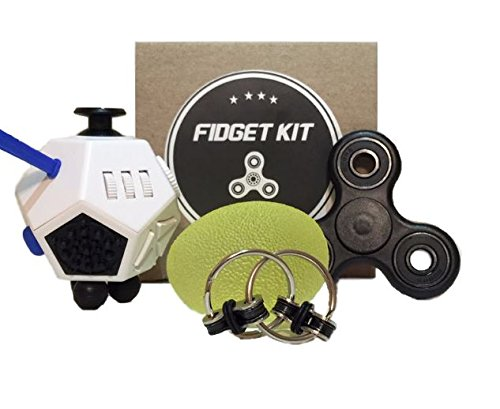 Fidget Kit / Bundle - Spinner, 12 Sided Dice Toy, Stress Squeeze Egg/Ball, and Key Chain. Perfect for all ages. Great for stress, anxiety, and focus. Also helps ADD, ADHD, and Autism.