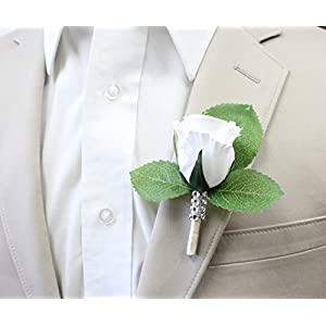 Angel Isabella Boutonniere-Nice Hand-Crafted Rosebud Keepsake Artificial Flower-Pearl Headed Pin Included (White) 26