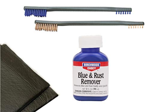 Westlake Market, Birchwood Casey Blue and Rust Remover, Two Brushes, Plus 2 Disposable Absobent Pads for Gun Restoration/Cleaning
