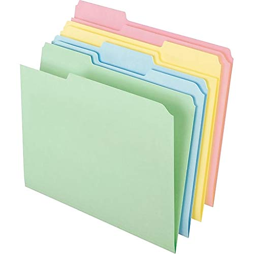 Staples Colored Top-Tab File Folders, 3 Tab, Assorted Pastel, Letter Size, 100/Pack