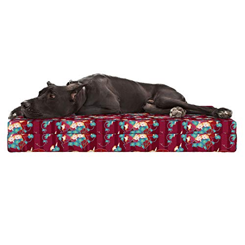 Lunarable Japanese Dog Bed, Far East Asian Floral Arrangement Morning Glory Pattern with a Oriental Background, Durable Washable Mat with Decorative Fabric Cover, 48
