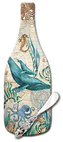 (CounterArt Monterey Bay Wine Bottle Shaped Glass Cheese Board with Spreader Knife, 12-1/2