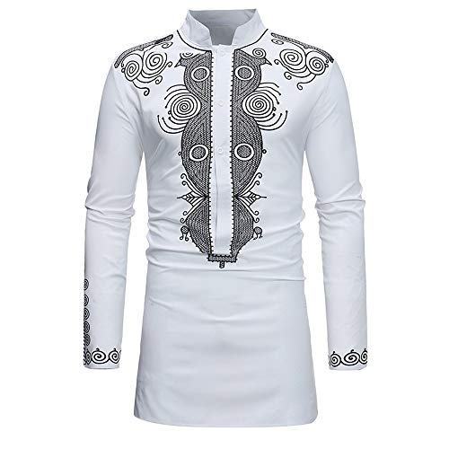 ◕‿◕ Toponly Mens Luxury African Print Long Sleeve Dashiki Shirt Pullover Top