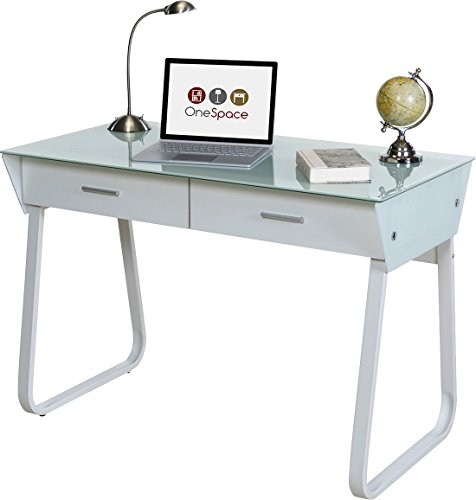 OneSpace 50-JN1301 Ultramodern Glass Computer Desk with Drawers, White by OneSpace