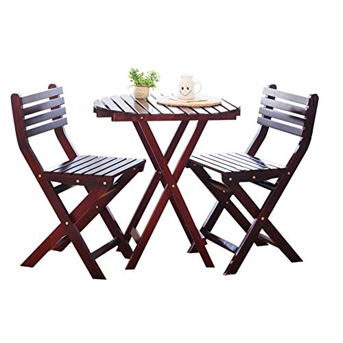 - Table and Chair Set Wooden Hardwood Bistro Traditional Folding Table 2 Chairs Garden Patio Furniture CJC (Color : Red)