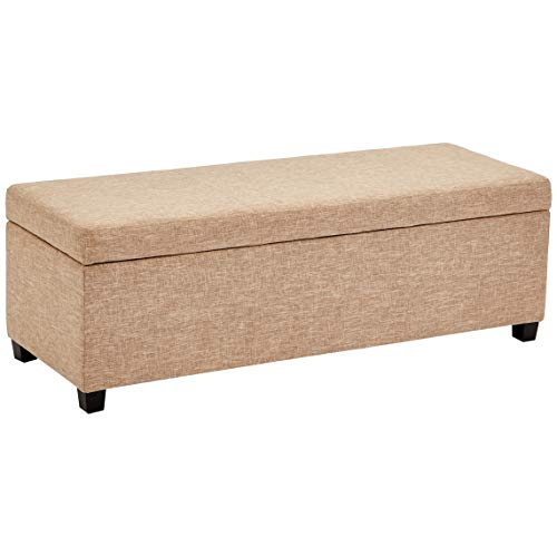 First Hill Damara Lift-Top Storage Ottoman Bench with Fabric Upholstery, Bistro Biscuit (Ottoman Fabric Storage Large)