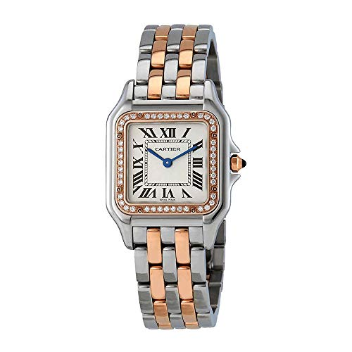 Cartier Panthere Silver Dial Ladies Steel and 18kt Pink Gold Medium Watch W3PN0007