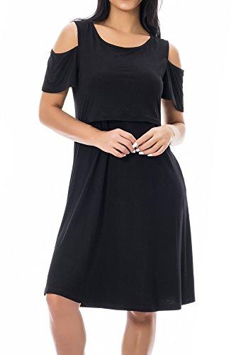 Smallshow Maternity Nursing Dress Cold Shoulder Breastfeeding Dresses for Women Medium Black by Smallshow (Image #2)