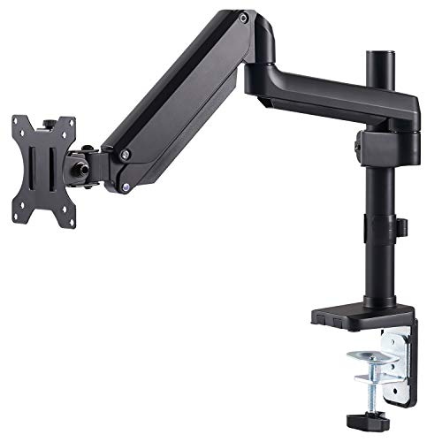 EleTab Monitor Arm Desk Mount - Premium Aluminum Single Monitor Stand Gas Spring Articulating Full Motion Computer VESA Mount, Extra Height Adjustable with Extension Pole | Holds Screen up to 17.6 lbs