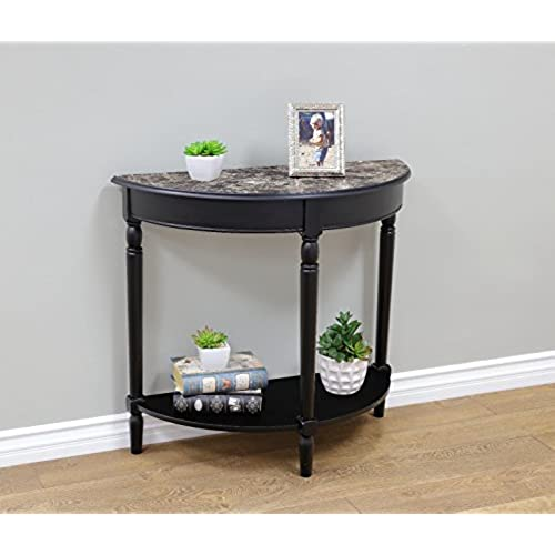 Merveilleux Frenchi Home Furnishing Entryway Table With Faux Marble Top, Black