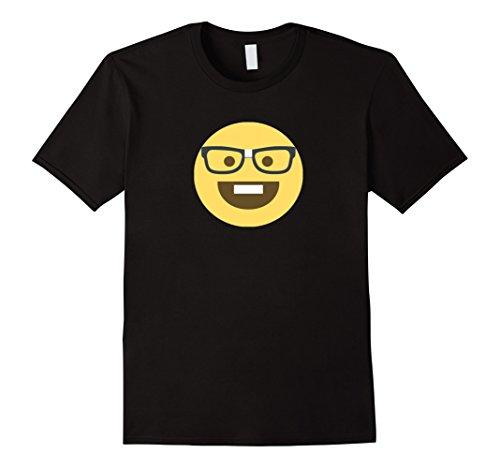 Nerd Costume Ideas For Men (Mens Emoji Nerd Shirt Yellow Face Geek Costume Glasses Gift Large Black)