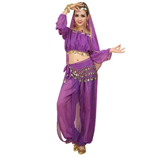 Lookatool Women Belly Dance Costumes Set Indian Dancing Dress Clothes Top Pants (Free size, Purple) - Belly Dancing Costumes For Sale