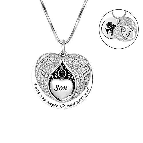 - Tree of Life Urn Necklace -Angel Wing Diamond Cremation Jewelry Keepsake Memorial Pendant (Son)