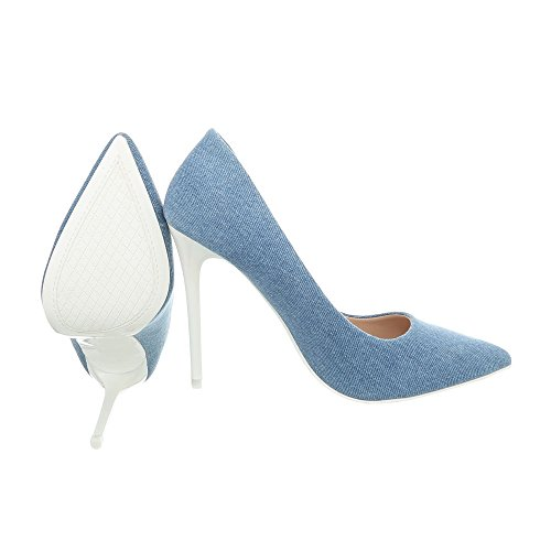Ital-Design Women's Court Shoes Stiletto High Heels at Blue White 5015-86C aEwq3XoZ