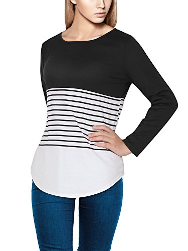 l Block Color Tunic Top Long Sleeve Striped T-Shirts Blouses (L, Black) (Inside Out Striped Shirt)