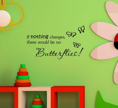 #2 If nothing changes, there'd be no butterflies. Vinyl wall art Inspirational quotes and saying home decor decal sticker -