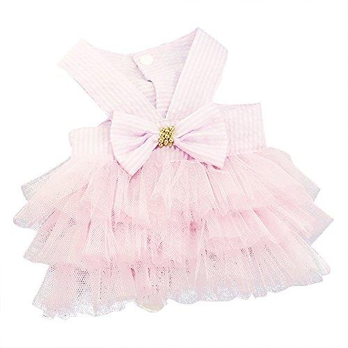 Cute Tutu Dress for Pet Dogs Stripe Bowknot Buttons Lace Skirt Layered Vest Princess Dresses XS-XXL (M, Pink)
