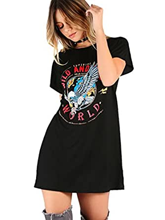 ROMWE Women's Casual Graphic Print Summer Dress Short Sleeve Tee Shirt Dress Black XXL