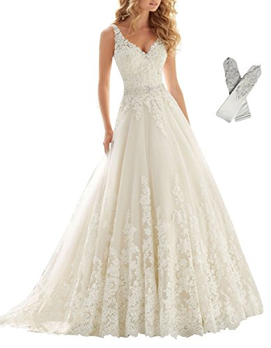 Datangep Women's Straps V-Neck Embellished Belt Empire Long Wedding Dress for Bride with Chapel Train US8 Ivory