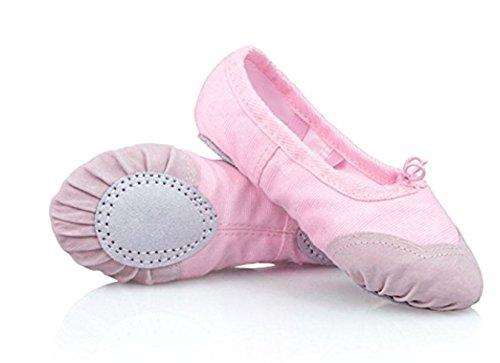 YOGLY Zapatos de Ballet Elegante Para Niñas, Zapatillas de Baile Adulta Zapatos de Yoga Suela Blanda Transpirables de Alta Calidad 24-40 EU Rosa 2