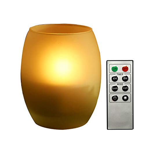 Flameless LED Candle with Frosted Glass Candle Holder Flickering Electric Battery Operated Decorative Decor Candle Light with Remote and Timer for Xmas Christmas Wedding Party Event Supplies