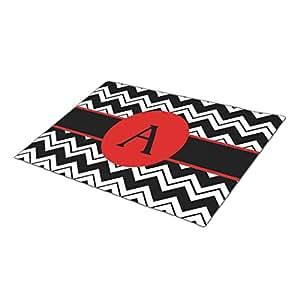 Triangly Doormat Red Monogram Initial Black White Chevron ZigZag Personalized Front Door Mats