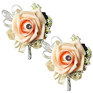 MerryJuly Set of 2 Handcrafted Boutonniere for Men Wedding, Brooch Bouquet Corsage Classic Artificial Groom Bride Flowers with Pin for Wedding Prom Party Peach Foam Flower 78
