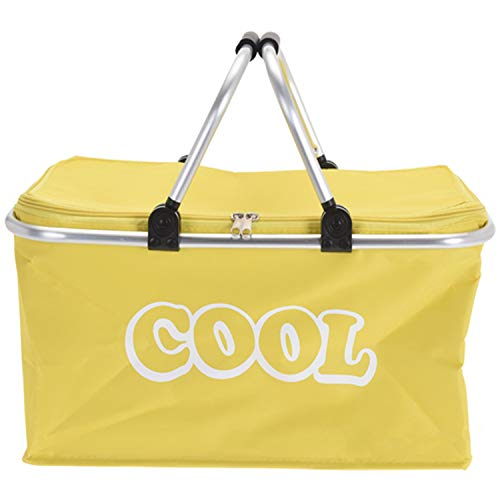 GEEZY 35 Litre Insulated Folding Picnic Camping Cooler Basket Shopping Cool Hamper Bag