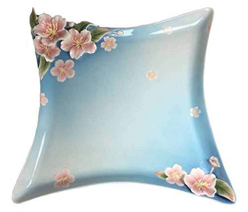 - Franz Cherry Blossom Flower Design Kathy Ireland Sculptured Porcelain Square Tray