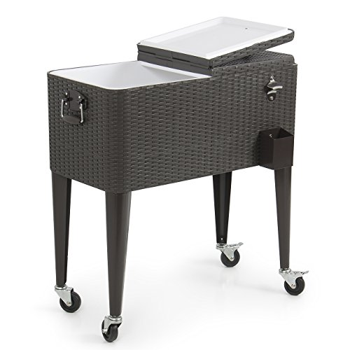 Belleze 014-HG-14145 80QT Portable Rolling Cooler Ice Chest Cool Soda Beverage Party, Rattan (Outdoor Cart Ice Chest)